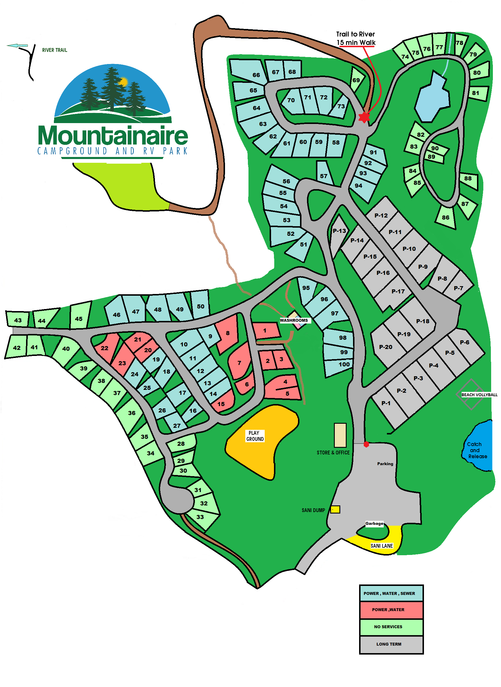Mountainaire Campground & RV Park map